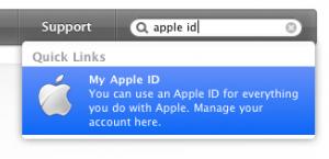 Apple ID の検索結果